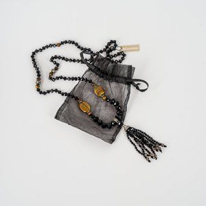 NWT Tigers eye and jet tassel necklace